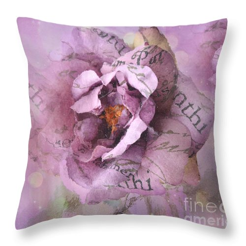 Shabby Chic Lavender Roses Throw Pillow featuring the photograph Dreamy Purple Lavender Impressionistic Abstract Floral Art Photography by Kathy Fornal