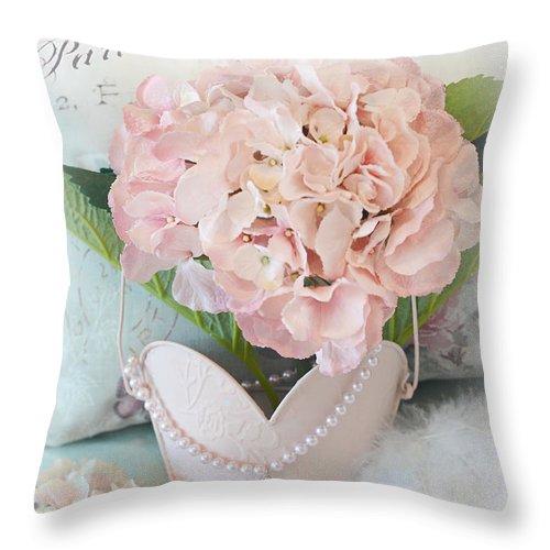 Paris Throw Pillow featuring the photograph Paris Shabby Chic Pink Hydrangeas Heart - Romantic Cottage Chic Paris Pink Shabby Chic Hydrangea Art by Kathy Fornal