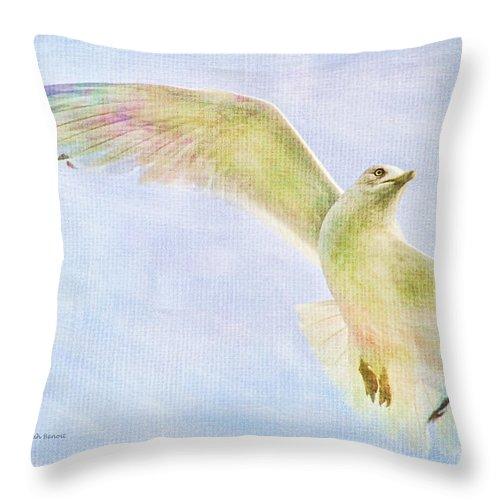 Seagull Throw Pillow featuring the photograph Dreamy Soft Seagull by Deborah Benoit