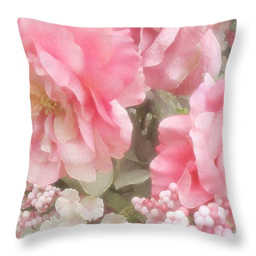 Peonies Throw Pillow featuring the photograph Dreamy Pink Roses, Shabby Chic Pink Roses - Romantic Roses Peonies Floral Decor by Kathy Fornal