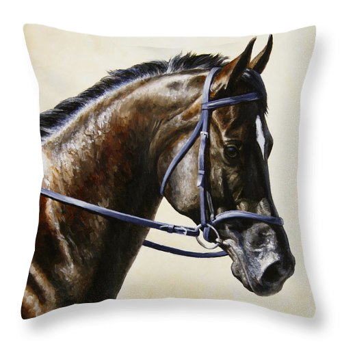 Horse Throw Pillow featuring the painting Dressage Horse - Concentration by Crista Forest