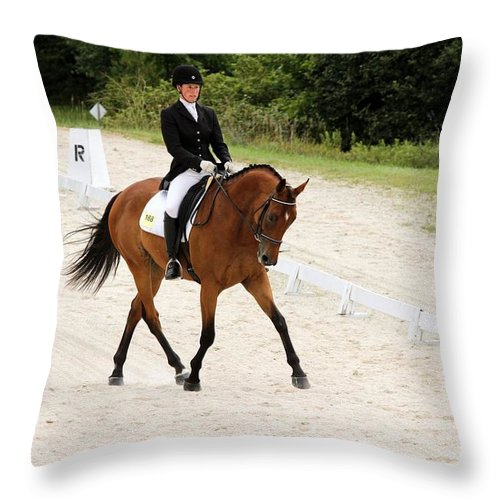 Horse Throw Pillow featuring the photograph Dressage Test by Janice Byer