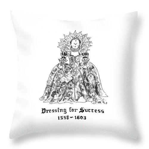 (a Portrait Of An Overly Frilly And Decorative Elizabethan Lady) Women Throw Pillow featuring the drawing Dressing For Success 1558-1603 by Edward Frascino