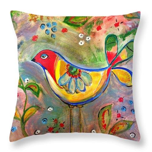 Folk Art Bird Throw Pillow featuring the painting Drew Bird by D Fi