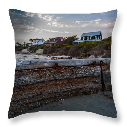 Driftwood Throw Pillow featuring the photograph Driftwood On The Beach by Dale Powell