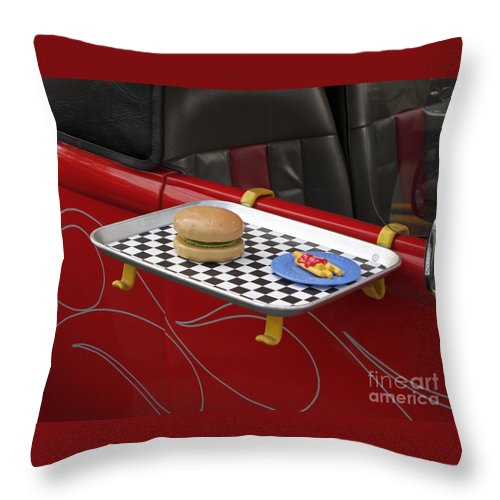 Classic Car Throw Pillow featuring the photograph Drive In Recalled by Ann Horn