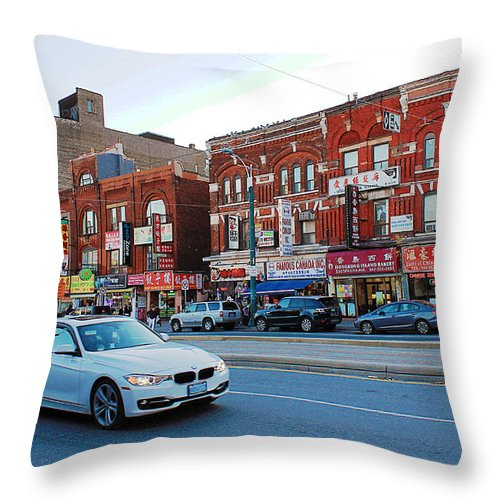 Toronto Throw Pillow featuring the photograph Driving Through Chinatown by Nina Silver