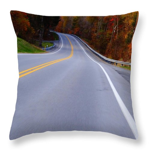 Driving Through Fall Throw Pillow featuring the photograph Driving Through Fall by Dan Sproul