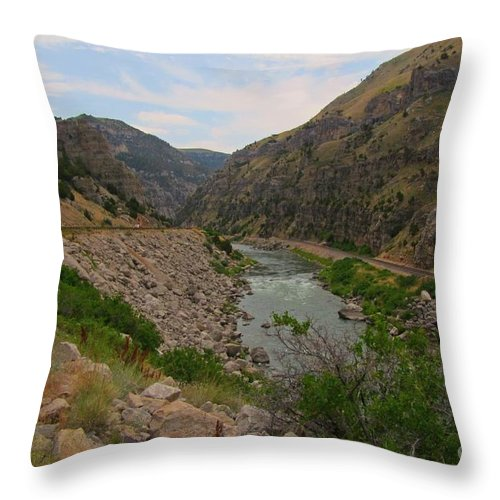 Beautiful American Landscapes Throw Pillow featuring the photograph Driving Through Wind River Canyon by John Malone