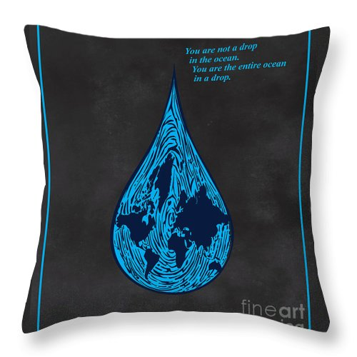 Minimalist Quote Throw Pillow featuring the painting Drop In The Ocean by Sassan Filsoof