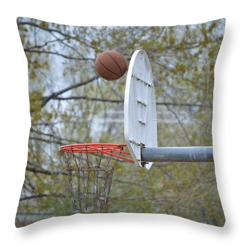 Basket Ball Throw Pillow featuring the photograph Dropping In by Sonali Gangane