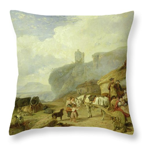 Scottish Village Throw Pillow featuring the painting Drovers Halt, Island Of Mull by Richard Ansdell