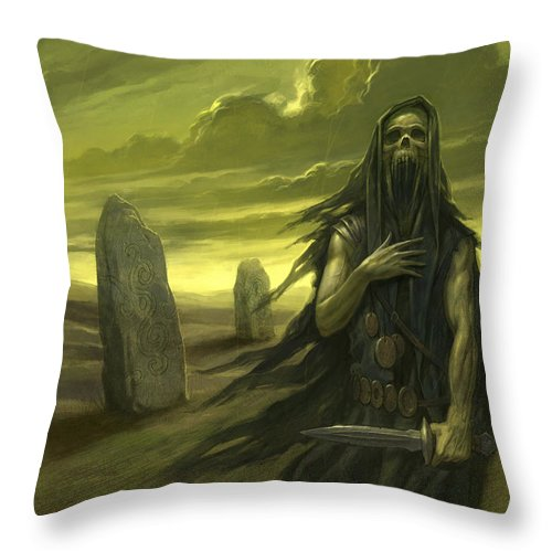 Demon Throw Pillow featuring the painting Druid Ghost by Alan Lathwell