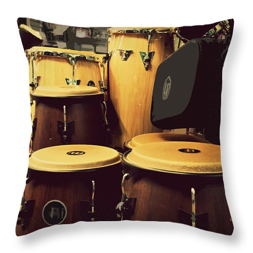 Featured Throw Pillow featuring the photograph Drum Beat by Paulette B Wright