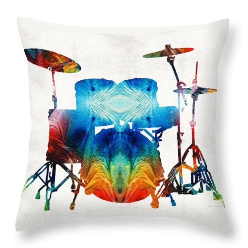 Drum Throw Pillow featuring the painting Drum Set Art - Color Fusion Drums - By Sharon Cummings by Sharon Cummings
