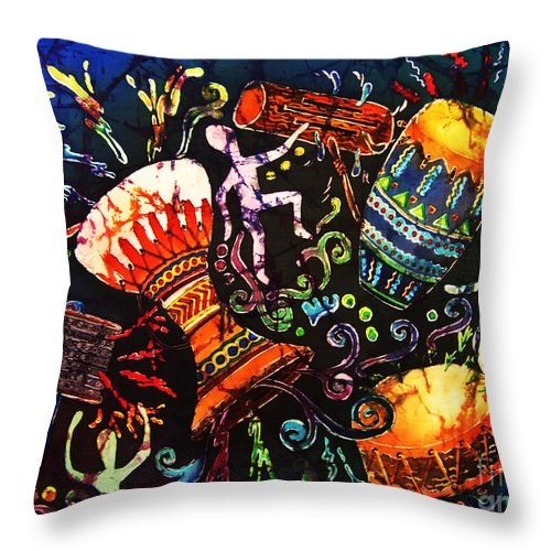 Drums Throw Pillow featuring the painting Drumbeat by Sue Duda