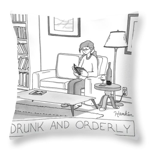 Captionless Throw Pillow featuring the drawing Drunk And Orderly -- A Woman Reads A Book by Charlie Hankin