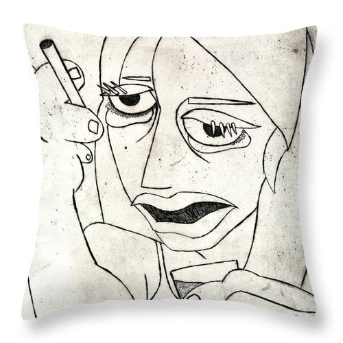 Clay Throw Pillow featuring the relief Drunk Girl by Thomas Valentine