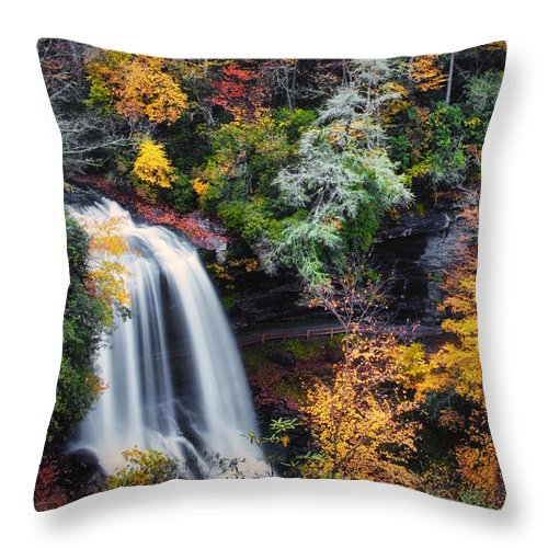 Water Throw Pillow featuring the photograph Dry Falls In Autumn by Lynne Jenkins