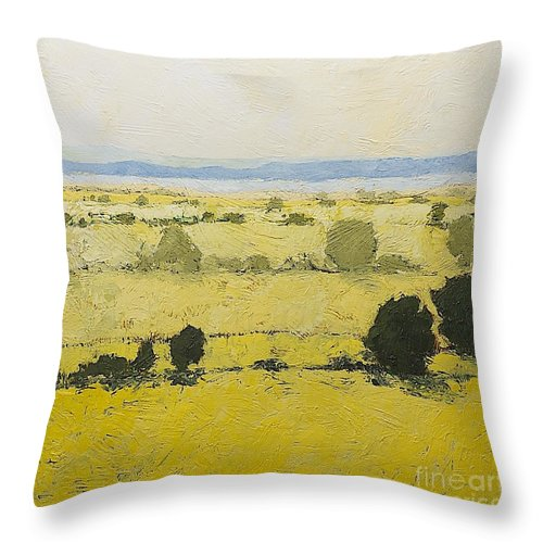 Landscape Throw Pillow featuring the painting Dry Grass by Allan P Friedlander