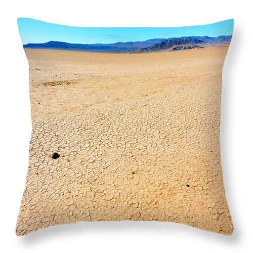 Landscape Throw Pillow featuring the photograph Dry Soil In Death Valley - Color by Alyaksandr Stzhalkouski