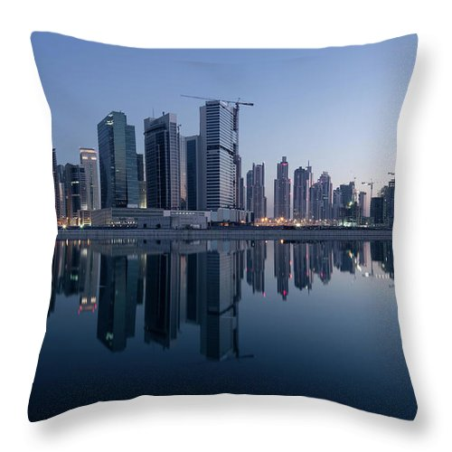 Tranquility Throw Pillow featuring the photograph Dubai Business Bay Skyline With by Spreephoto.de
