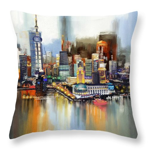 Dubai Throw Pillow featuring the painting Dubai Skyline by Corporate Art Task Force