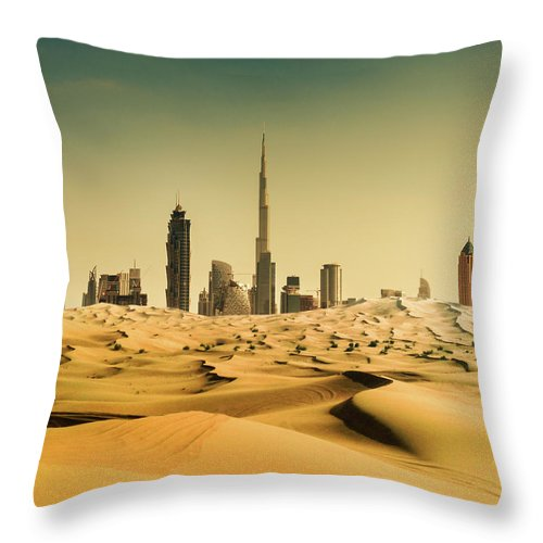 Dubai Skyline From The Desert Throw Pillow For Sale By Franckreporter