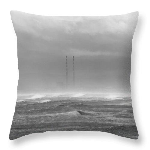 Dublin Bay Throw Pillow featuring the photograph Dublin Bay Storm by Robert Phelan