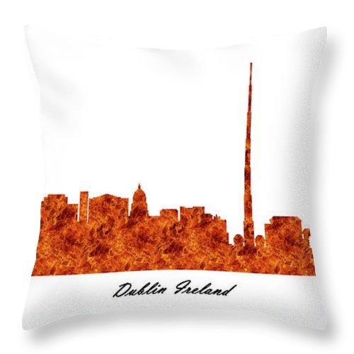 Fine Art Throw Pillow featuring the digital art Dublin Ireland Raging Fire Skyline by Gregory Murray