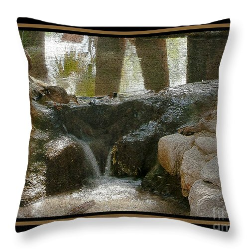 Bird Throw Pillow featuring the photograph Duck In Pond by Larry White