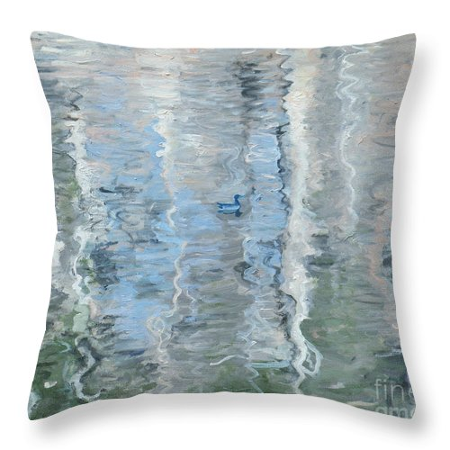 Ripples Throw Pillow featuring the painting Duck On Pond, Abstract by Laura Sullivan