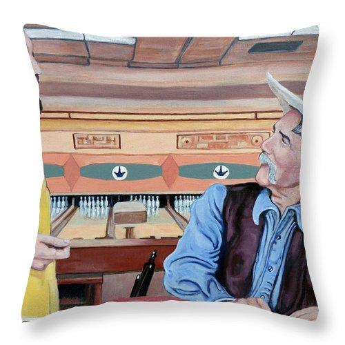 The Dude Throw Pillow featuring the painting Dude You've Got Style by Tom Roderick