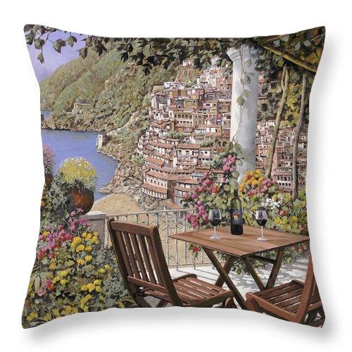 Positano Throw Pillow featuring the painting aperitivo a Positano by Guido Borelli