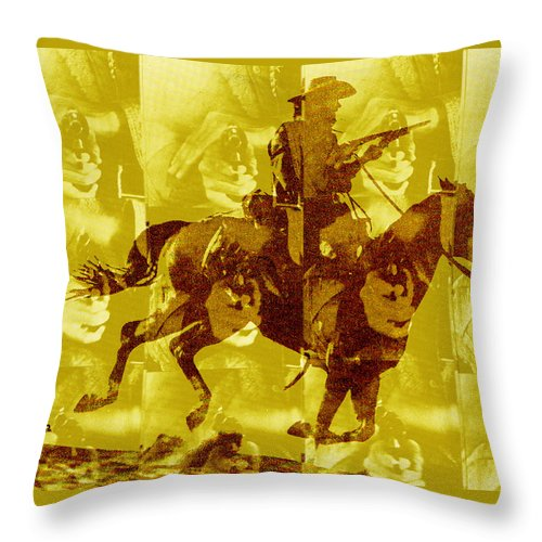 Clint Eastwood Throw Pillow featuring the digital art Duel In The Saddle 1 by Seth Weaver