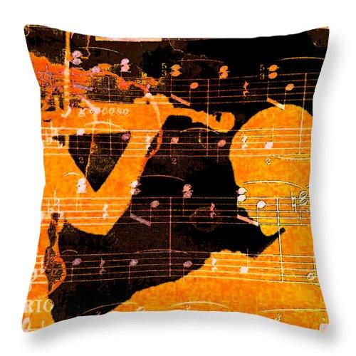 Classical Music Throw Pillow featuring the digital art Duet by John Vincent Palozzi