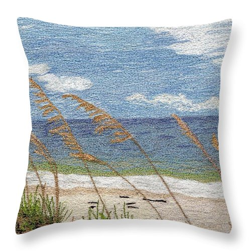 Fiber Throw Pillow featuring the mixed media Dune by Jenny Williams
