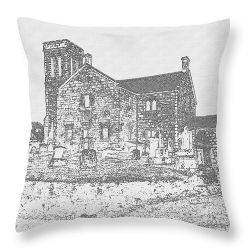 Dunlop Throw Pillow featuring the photograph Dunlop Kirk In Carcoal by James Potts
