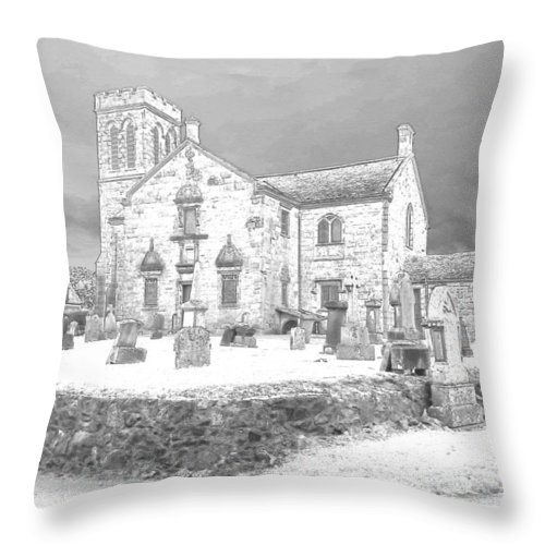 Dunlop Throw Pillow featuring the photograph Dunlop Kirk In Snow by James Potts