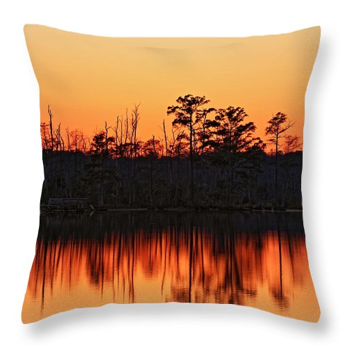Sunset Throw Pillow featuring the photograph Dusk At Pocosin Lakes by April Copeland