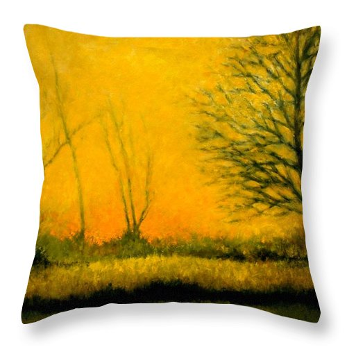 Landscape Throw Pillow featuring the painting Dusk At The Refuge by Jim Gola