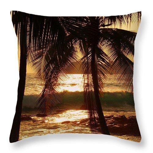 Hawaii# Hawaiian Sunset Throw Pillow featuring the photograph Dusk by Athala Bruckner