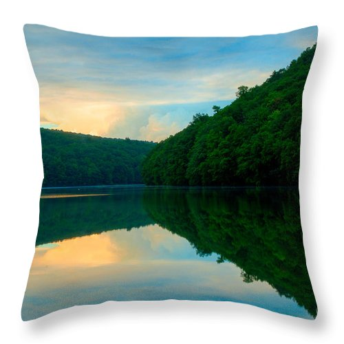 Chauncey Peak Throw Pillow featuring the photograph Dusk On Crescent Lake by JG Coleman