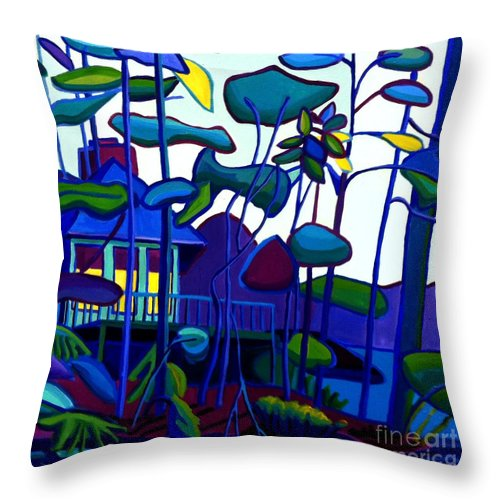 Landscape Throw Pillow featuring the painting Dusk On Massapoag by Debra Bretton Robinson