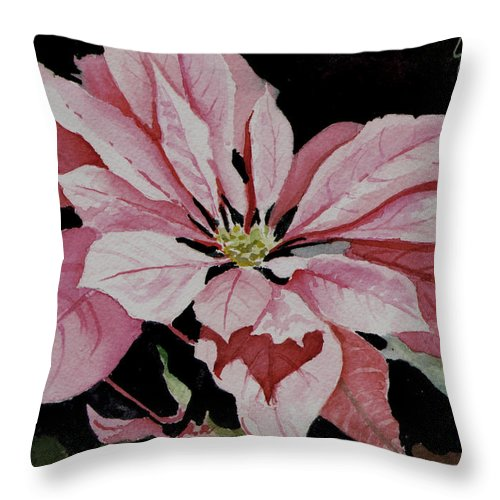 Poinsettia Throw Pillow featuring the painting Dustie's Poinsettia by Sam Sidders