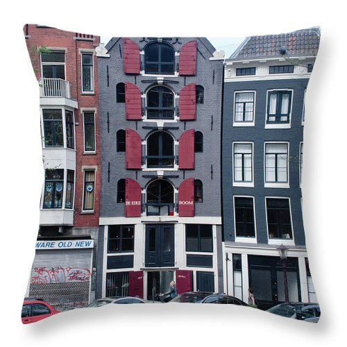 Amsterdam Throw Pillow featuring the photograph Dutch Canal House by Thomas Marchessault