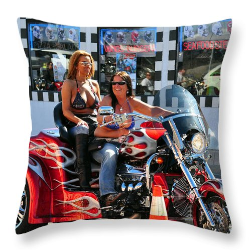 Dykes Throw Pillow featuring the photograph Dykes On Trikes by Davids Digits