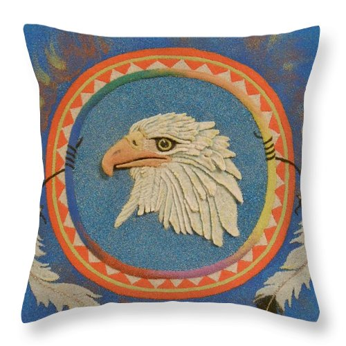 Eagle Throw Pillow featuring the mixed media Spirit Of Sacred Healing - Mi Gi Si' by Duane West