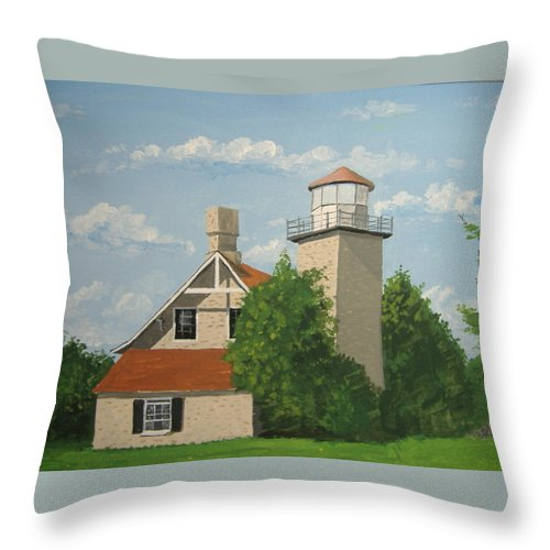 Lighthouse Throw Pillow featuring the painting Eagle Bluff Lighthouse Wisconsin by Norm Starks