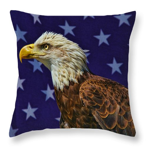 Eagle Throw Pillow featuring the photograph Eagle In The Starz by Deborah Benoit
